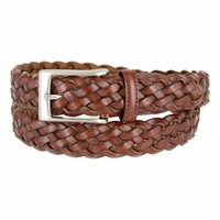 "20152 Men's Braided Leather Dress Belt 1-1/8"" Wide - Brown"