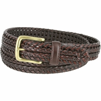 "20153 Men's Double Braided Woven Leather Dress Belt 1 1/4"" (32mm) wide with Gold Plated Buckle - Brown"