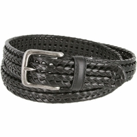 "20153 Men's Double Braided Woven Leather Dress Belt 1 1/4"" (32mm) wide with Nickel Plated Buckle - Black"