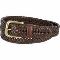 "20154 Men's Braided Woven Leather Dress Belt 1 1/4"" (32mm) wide with Gold Plated Buckle - Brown"
