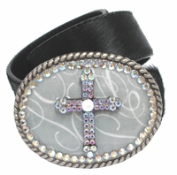 20367 Rhinestone Cross Buckle Hair On Leather Belt