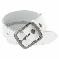 "2125 Men's Casual Jean Belt Genuine Leather White Belt 1-1/2"" wide"