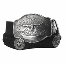 2272 State of Texas Star and Longhorn Western Embossed Leather Belt - Black