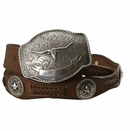 2272 State of Texas Star and Longhorn Western Embossed Leather Belt - Brown