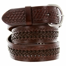 2283 Western Basketweave and X Pattern Genuine Leather Belt - Brown