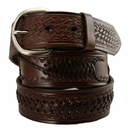 "2285 Western Scorpion X Hand Woven Genuine Leather Belt 1-1/2"" Wide-Brown"