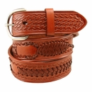 "2285 Western Scorpion X Hand Woven Genuine Leather Belt 1-1/2"" Wide-Tan"
