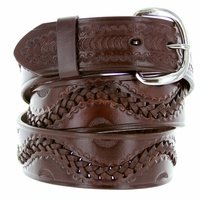 2286 Western Basketweave Genuine Leather Belt -Brown
