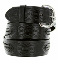 2287 Western Basketweave Genuine Leather Belt -Black