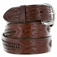 2287 Western Basketweave Genuine Leather Belt -Brown