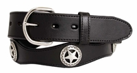 "2293 Black Western Star Conchos Leather Belt 1-1/2"" Wide"
