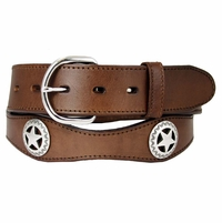 "2293 Brown Western Star Conchos Leather Belt 1-1/2"" Wide"