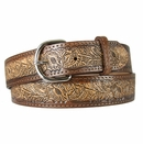 2327 Western Embossed Genuine Leather Belt - Brown