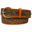 2327 Western Embossed Genuine Leather Belt - Honey Brown