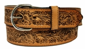 2327 Western Embossed Genuine Leather Belt - Tan