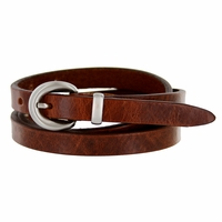 "2486 Women's Genuine Leather Dress Belt Made in Italy 1/2"" wide - Brown"