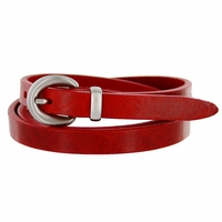 "2486 Women's Genuine Leather Dress Belt Made in Italy 1/2"" wide - Red"