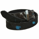 255555128 Dark Brown Cattle Hair with Turquoise Accents Genuine Leather Belt Strap - 1 1/2""