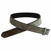 """255555186 Brown and White Cattle Hair On Genuine Leather Belt Strap - 1 1/2"""""""