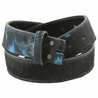 255555254 Black Hair on Turquoise Genuine Leather Belt Strap - 1 1/2""