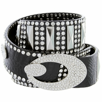 "3012 Women's rhinestone-studded leather belt Black 1-3/4"" Wide"