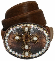 3491 Rhinestone Cross Buckle Hair On Leather Belt