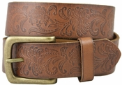 36 Western Vintage Engraved Belt-Brown