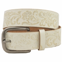 36 Western Vintage Engraved Belt-White