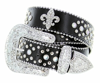 3609 Crystal Stones With Fleur-de-lis Western Belt Black