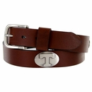 3610500 NCAA Men's Collegiate University Leather Overlay Concho Brown Belt - Tennessee