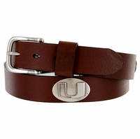 3616500 NCAA Men's Collegiate University Leather Overlay Concho Brown Belt - Miami