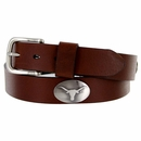 3639500 NCAA Men's Collegiate University Leather Overlay Concho Brown Belt - University of Texas