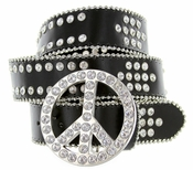 3665 Peace Buckle Crystal Stones Western Leather Belt
