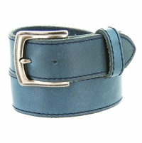 "3926051 Men's One Piece Full Leather Casual Jean Belt 1-1/2"" wide - Blue"