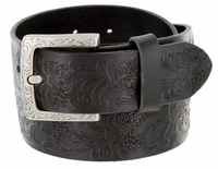 3983036 Western Engraved Buckle Full Leather Belt 1-1/2 inch (38mm) Black