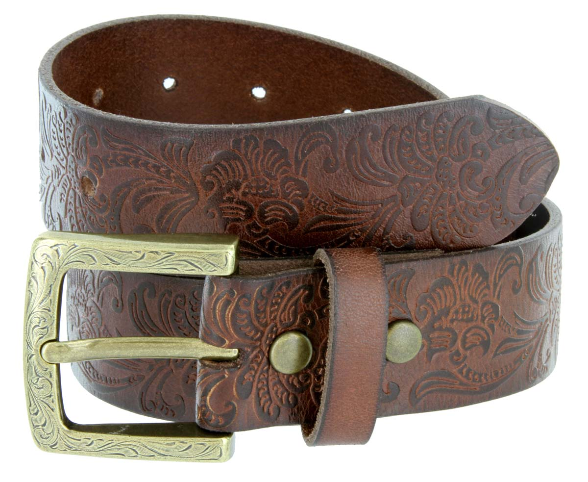 Jordan Western Engraved Buckle Full Leather Belt 1 1 2