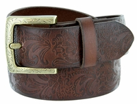 3983036 Western Engraved Buckle Full Leather Belt 1-1/2 inch (38mm) Brown