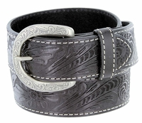 3984118 Western Engraved Buckle Genuine Leather Belt 1-1/2 inch (38mm) Black