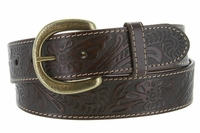 Terry Western Engraved Buckle Genuine Leather Belt 1-1/2 inch (38mm) Brown