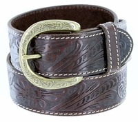 3984118 Western Engraved Buckle Genuine Leather Belt 1-1/2 inch (38mm) Brown