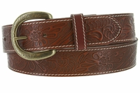 Terry Western Engraved Buckle Genuine Leather Belt 1-1/2 inch (38mm) Tan