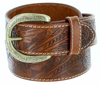 3984118 Western Engraved Buckle Genuine Leather Belt 1-1/2 inch (38mm) Tan