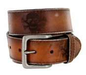 4065 Skull Leather Buckle Casual Belt