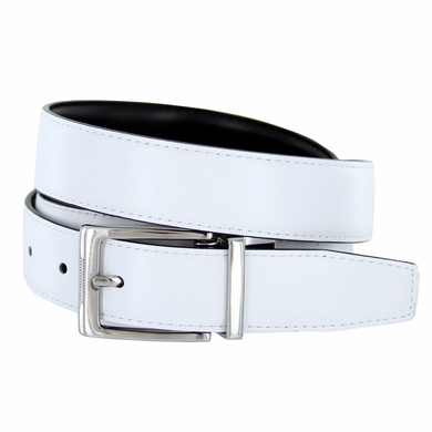 "4089E Reversible Leather Dress Belt (1-1/8"" or 30mm) White/Black"