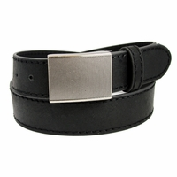 4126 Men's Leather Belt with Rectangular Gritty Looking Textured Belt Buckle -Black