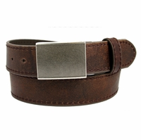 4126 Men's Leather Belt with Rectangular Gritty Looking Textured Belt Buckle -Brown