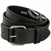 "4130 Black Casual Leather Jean Belt 1.5"" Wide (38mm)"