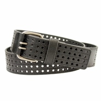 4131 Men's 4 Row Cut Out Leather Belt -Black
