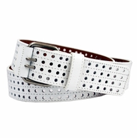 4131 Men's 4 Row Cut Out Leather Belt -White