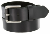 "413901 Men's One Piece Full Grain  Leather Casual Jean Belt Black 1-3/8"" wide Hand-Cut Made in USA"